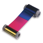 DTC4500 YMCKO, FULL-COLOR RIBBON WITH RESIN BLACK AND CLEAR OVERLAY PANEL, 500 IMAGES